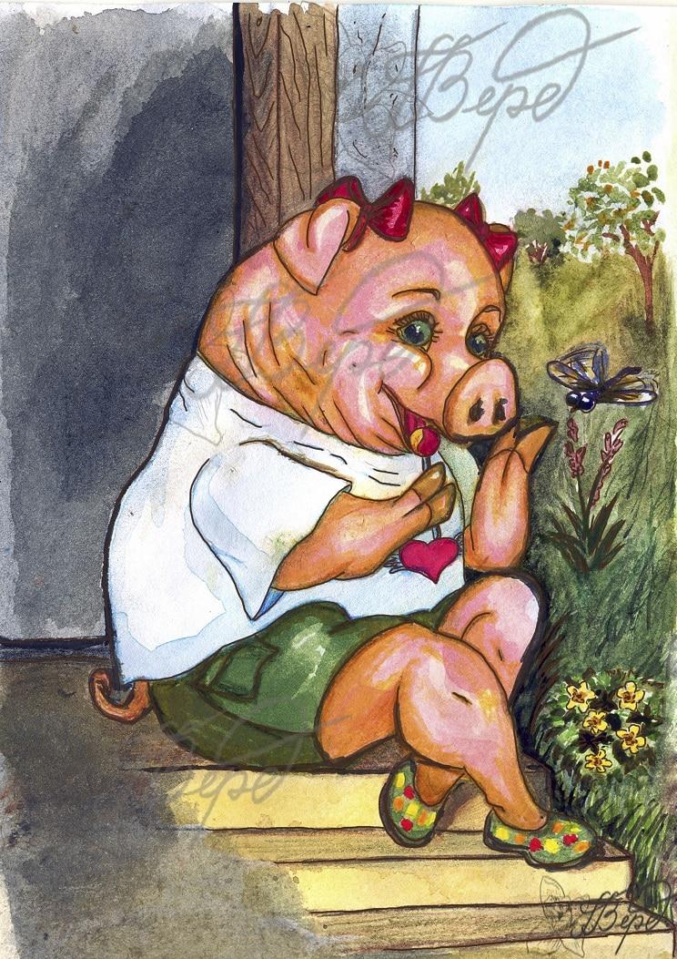 Свинка и ботинки. Рис.1